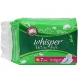 Whisper Sanitary Pad Ultra Soft XL Wings (7S)