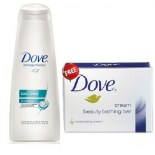 Dove Hair Therapy Daily Shine Shampoo With Nutritive Serum + Dove Cream Beauty Bathing Bar 75 gm Free